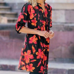 Soft Surroundings Floral Hibiscus Tunic LG Cotton